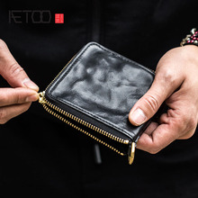 AETOO Handmade leather wallet original mens short zipper retro old rub color Japanese and Korean personality tide walle