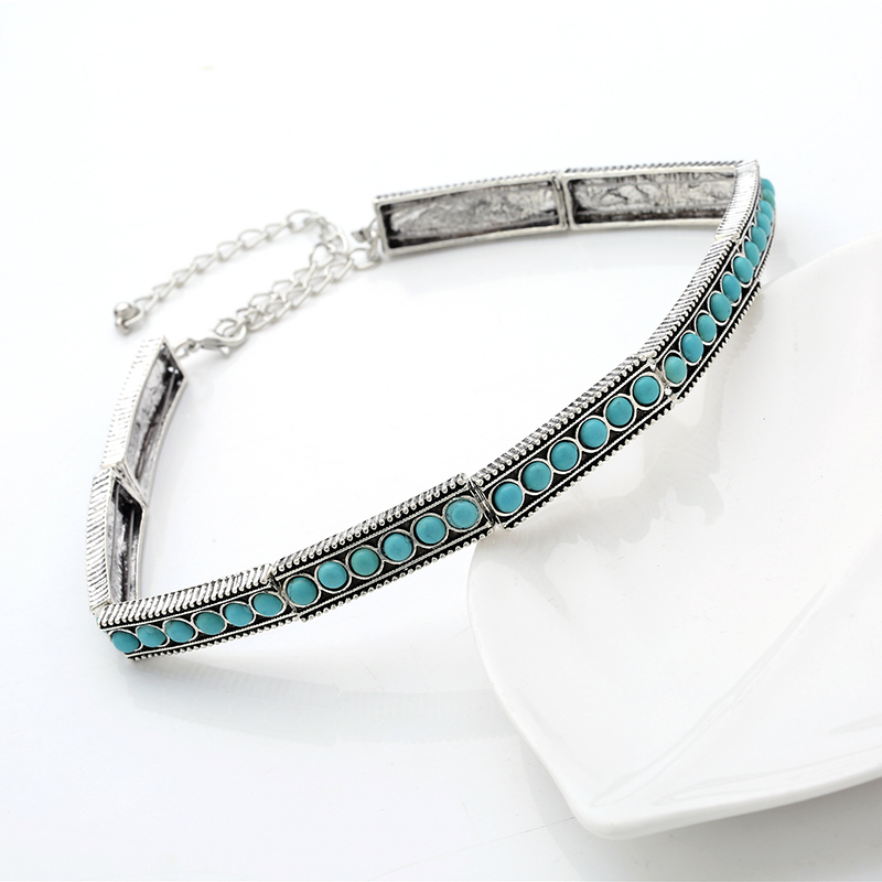 2018 New Fashion Boho Collar Choker Silver Necklace statement jewelry Neckfor women Vintage EthnicBohemia stone Beads neck in Choker Necklaces from Jewelry Accessories