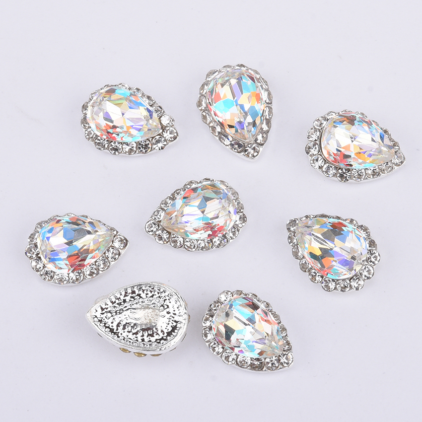 10pcs alloy nail decoration crystal nail rhinestones drop nagels 3d nail charms ab glass stones for nails BL252 in Rhinestones Decorations from Beauty Health