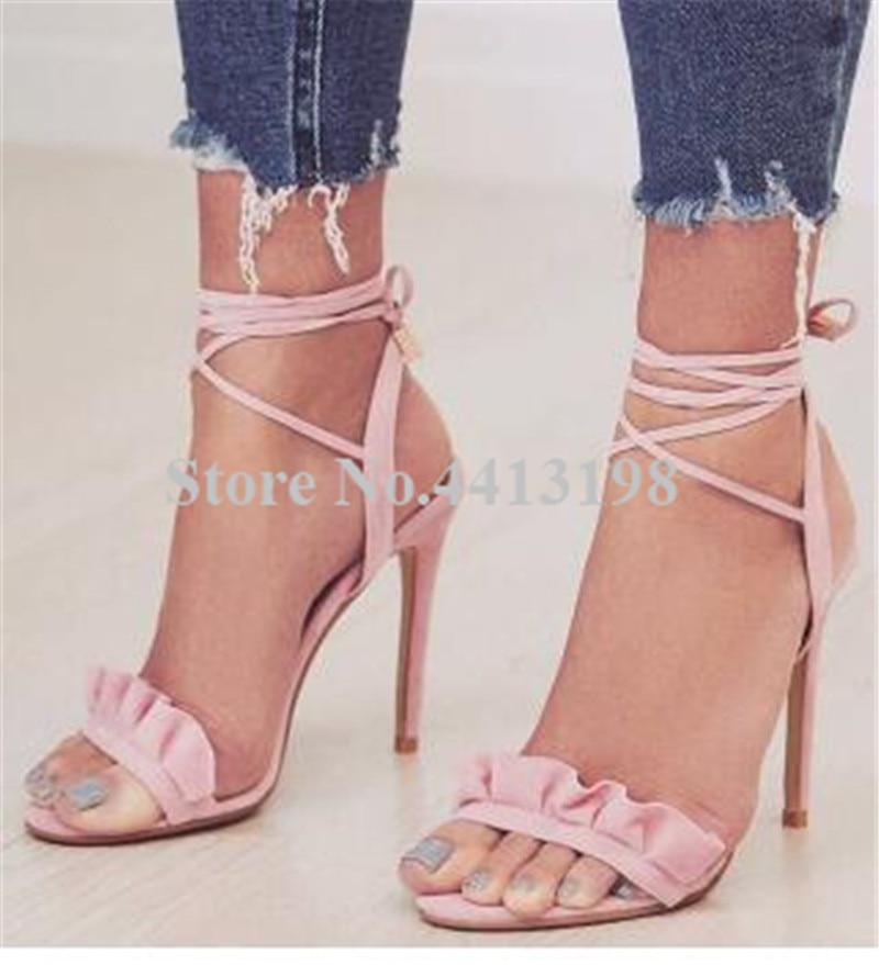 7a6b66c2 Nueva As Super Tobillo Toe Peep Tacones Picture atado Volantes Mujeres  Picture Zapatos Dulce as De ...