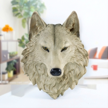 Wolf Head Statue Wall Decoration Hanging Wall Ornaments Animal Art Sculpture Resin Craftwork Home Decoration Accessories R225