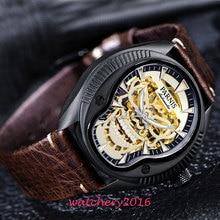 лучшая цена 40mm Parnis skeleton dial Luminous marks Leather strap 2019 top brand Luxury Sapphire glass Miyota automatic Movement mens watch