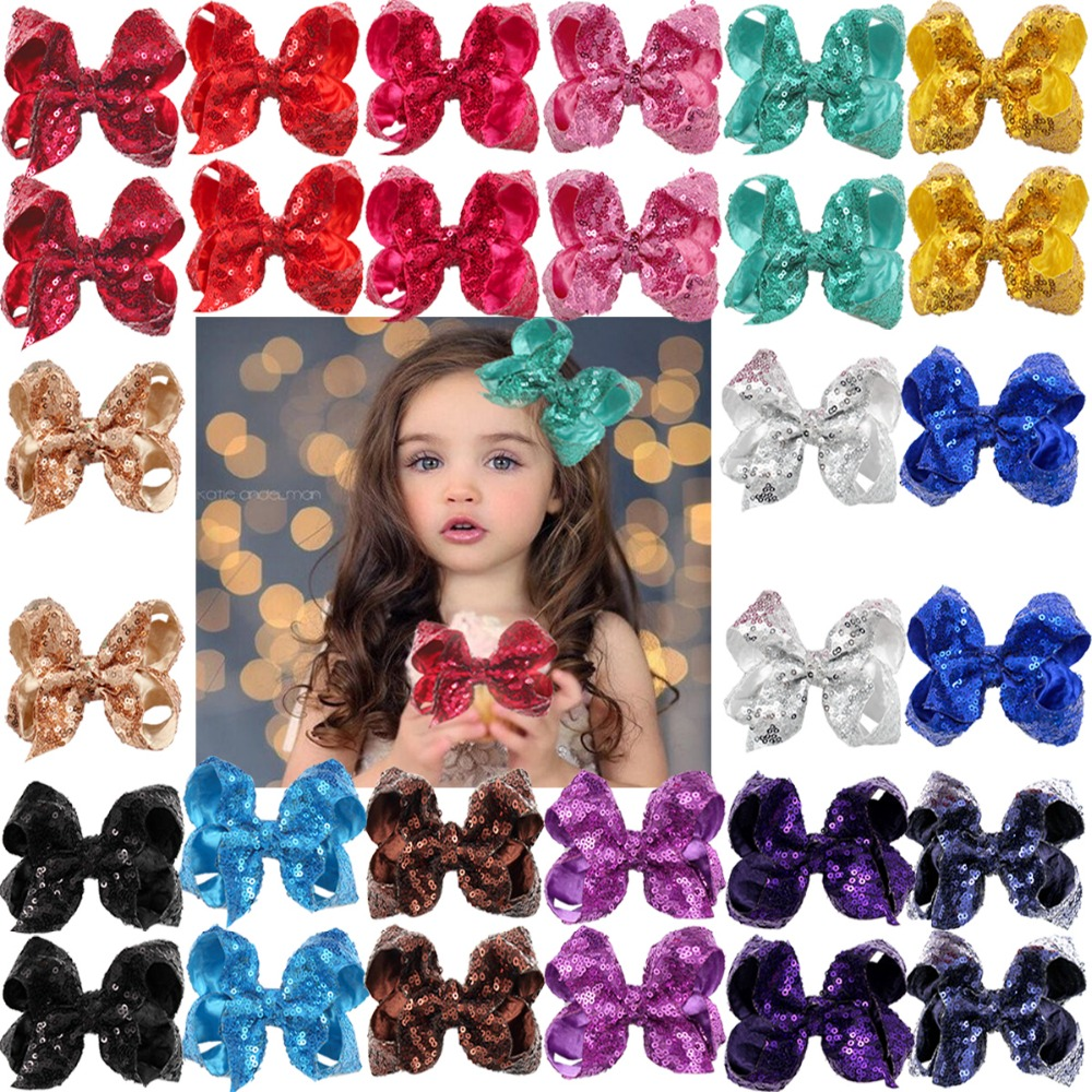 30Pieces(15 Colors In Pairs) Bling Sparkly Sequins Bows Alligator Hair Clips Baby Girls Mix Colored Solid Ribbon Hair Bows Clip
