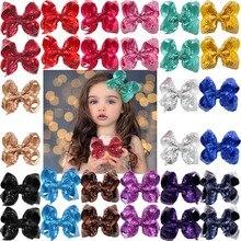 Pinces à cheveux en paillettes scintillantes, 30 pièces (15 couleurs en paires), Alligator, ruban de couleur unie pour petites filles