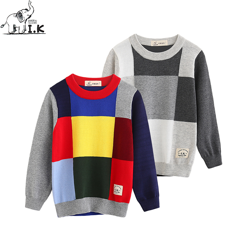 I.K Autumn Spring Toddler boys sweater baby kids knitwear fashion plaid pattern jumper long sleeve pullover knitted top MO25037 slim fit v neck plaid pattern sweater