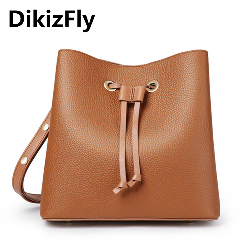 DikizFly String Women Shoulder Bags Solid Bucket Handbags Genuine Leather Women Bags Messenger Female Casual Top-handle bag 2018 2017 women bucket bags lady cowhide genuine leather shoulder strap messenger bags female simple fashion casual chains mini bags