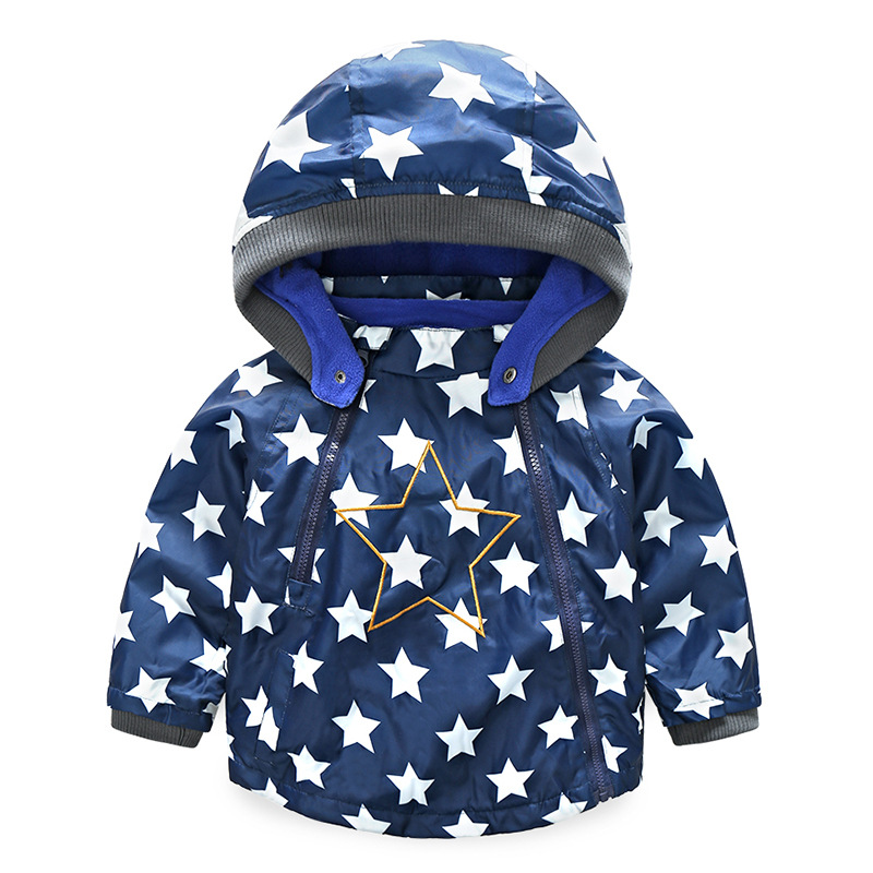 Boys Girls Jacket Coat Hooded Five-pointed Star Printed for Child Windbreaker Polar Fleece Warm Jackets Oblique Zipper Design 2015 new girls design jacket luxury brand child outwear flower printed coat