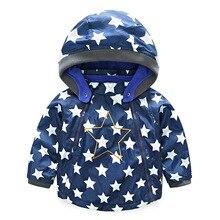 Boys Girls Jacket Coat Hooded Five-pointed Star Printed for Child Windbreaker Polar Fleece Warm Jackets Oblique Zipper Design