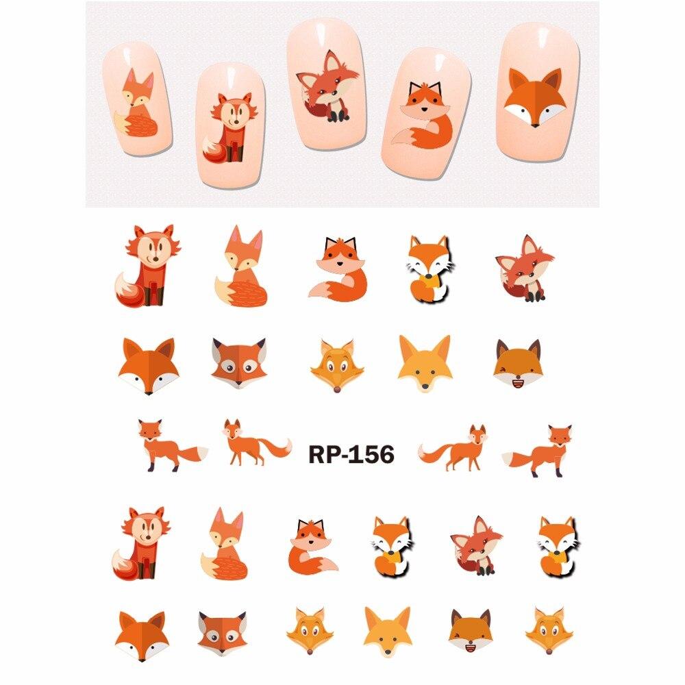 NAIL ART BEAUTY NAIL STICKER WATER DECAL SLIDER CARTOON ANIMAL KOALA DEER PANDA ZEBRA RED FOX RP151 156-in Stickers & Decals from Beauty & Health