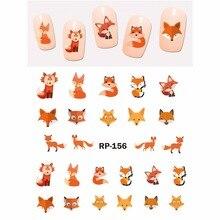 Pegatina de belleza para uñas, adhesivo deslizable al agua, ANIMAL de dibujos animados, KOALA, ciervo, PANDA, cebra, zorro rojo, RP151 156