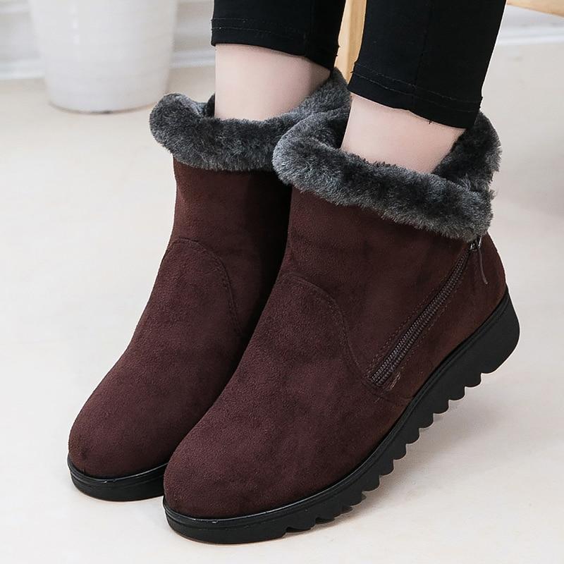 Ankle Boot Wedge Hidden Heel Platform Plush Fur Zipper Black Brown Winter Warm Fashion Boots