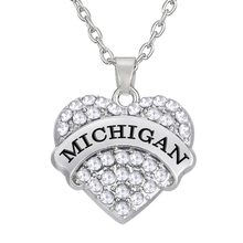 Fishhook 1 piece a zinc alloy state of Michigan heart necklaces(China)