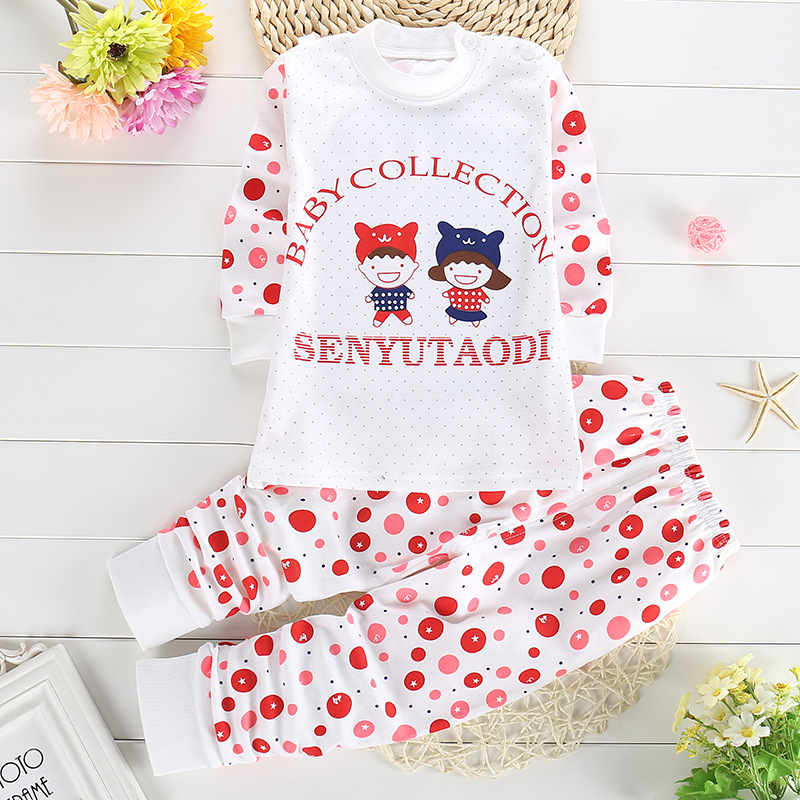 2016 New Casual Pullover O-neck Cartoon Cute 100% Cotton Baby Boy Clothes Baby Girls Coat Set 2pc(long Sleeve T Shirt+pant)