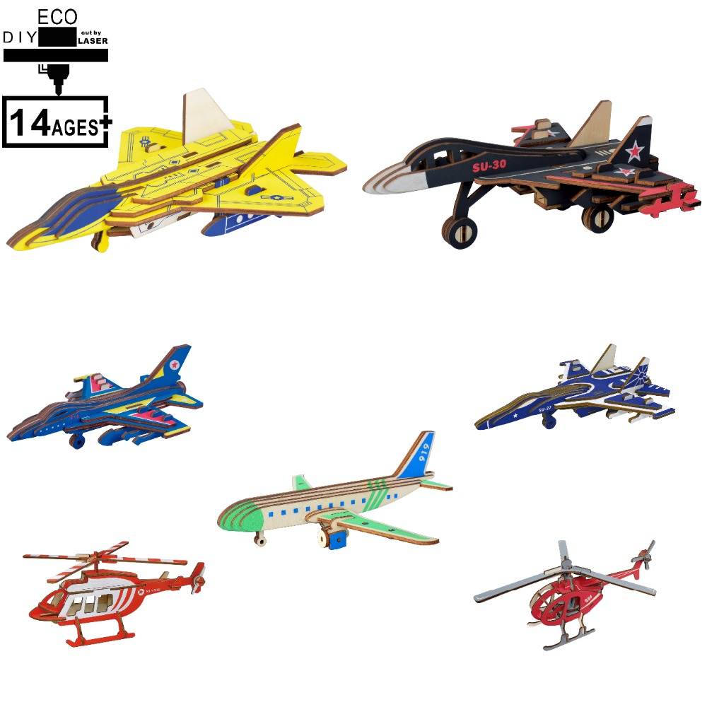 3D Wooden Puzzle Airplane Helicopter Modell Making Set Thinking Game