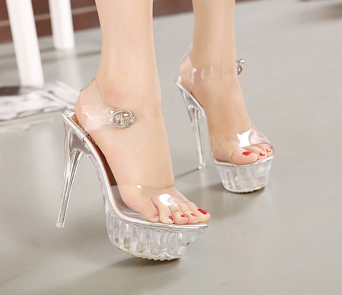 9c517ce5195 Fashion Women Sandals Clear Transparent PVC Ankle Strap Buckle Sexy High  Heels Party Platform Sandals Women Shoes Big Size 35 43-in High Heels from  Shoes on ...