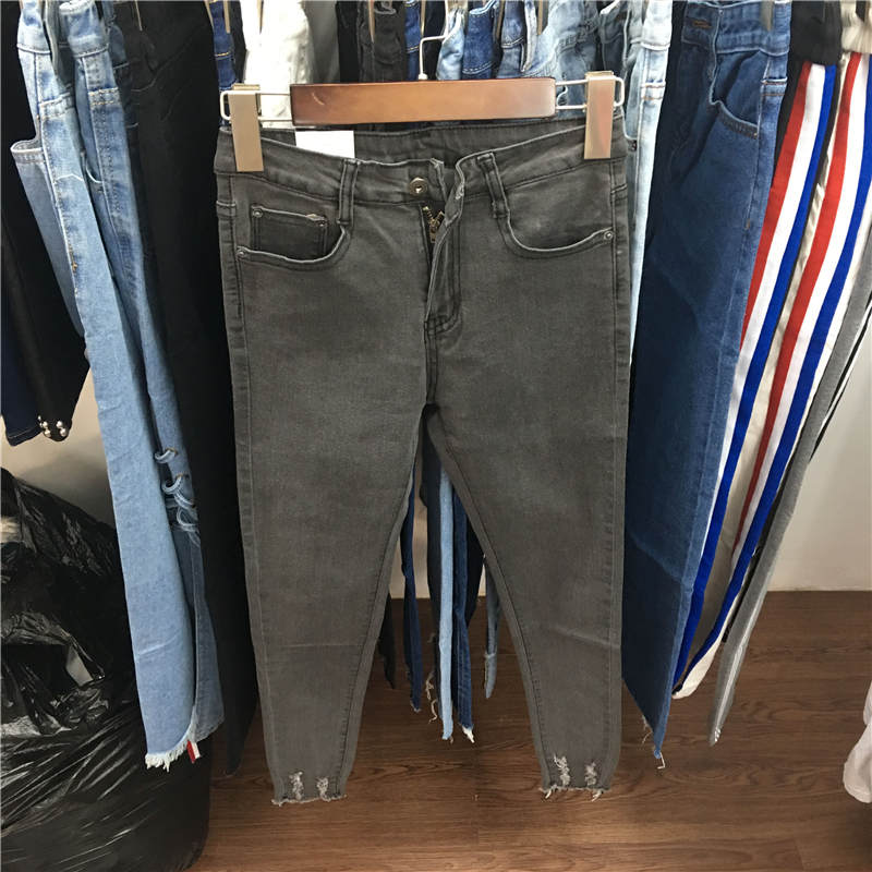 autumn Women Jeans Ankle-Length High Waist Elastic Skinny Pencil Pants Denim Trousers Fit spring Lady Slim Jeans Black grey nvzhuren solid denim jeans for women high waist elastic long skinny slim jeans trousers plus size spring autumn ladies pants
