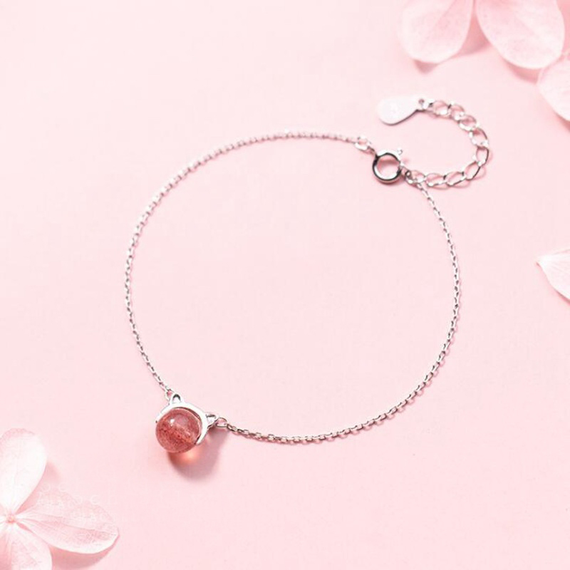 Ruifan Cute Pink Color Strawberry Quartz Cat Shape Genuine 925 Sterling Silver Chain Bracelets for Women Fine Jewelry YBR104