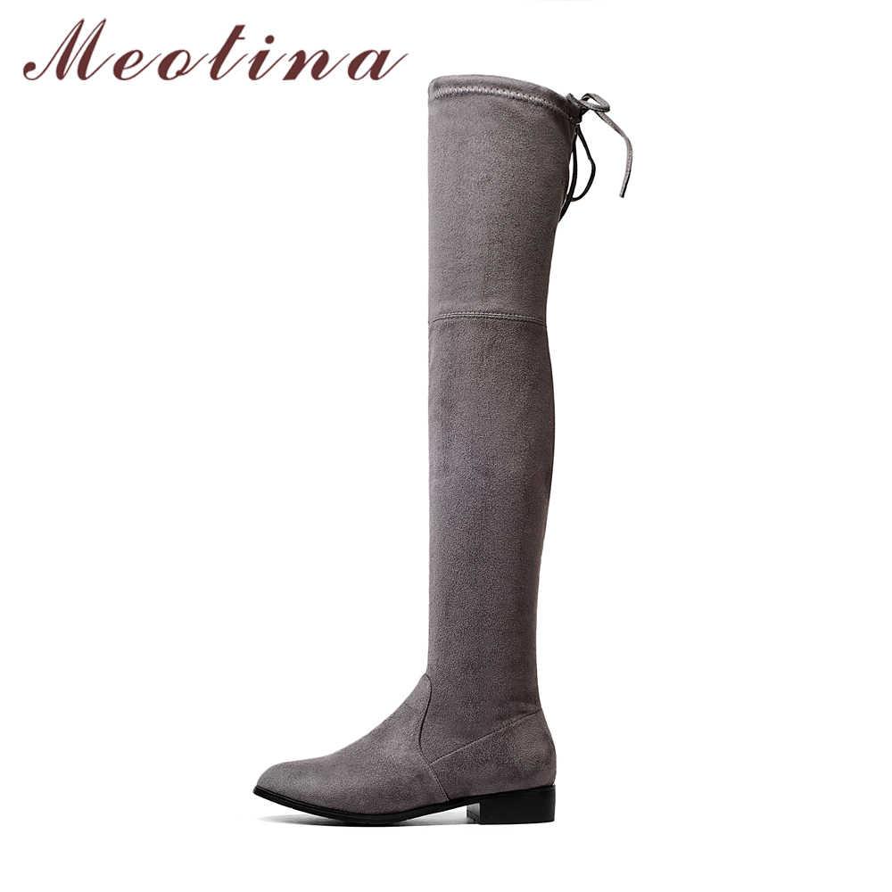 Meotina Kadın Uzun Çizmeler Med Topuklar Uyluk Yüksek Çizmeler Kış 2018 Blok Topuk Sonbahar Ayakkabı Dantel Kadar Gri Siyah Kadın büyük Boy 34-43