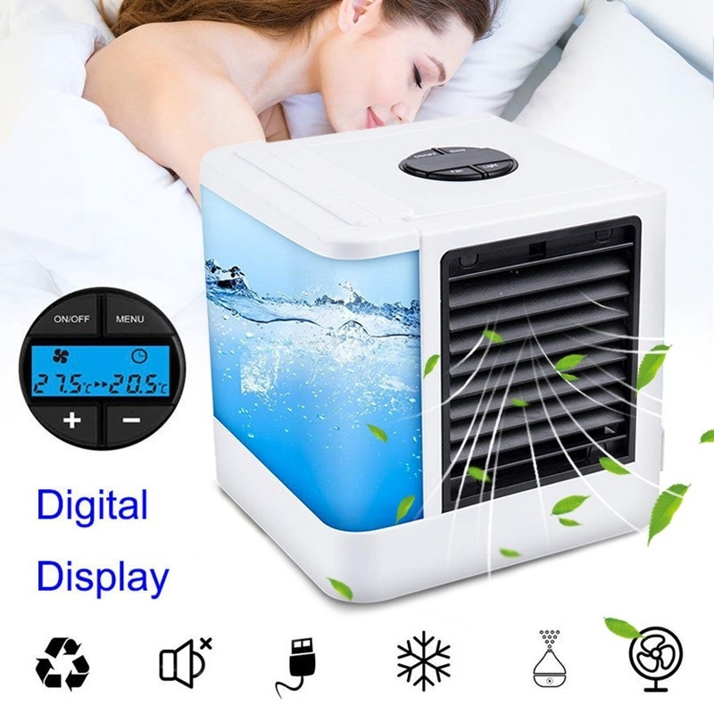 USB Portable Air Conditioner Personal Evaporative Air Cooler Purifier Humidifier Desktop Cooling Fan with 7 Colors LED universal dc 12v evaporative air conditioner 35w black portable mini cooling conditioner water evaporative car air fan
