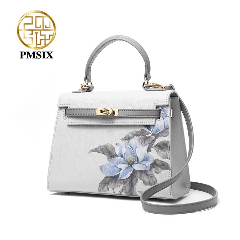 PMSIX Fashion Floral Printing Cow Leather Ladies' Handbag Exclusive Design Of Elegant Women Shoulder Bag Casual Crossbody Bags