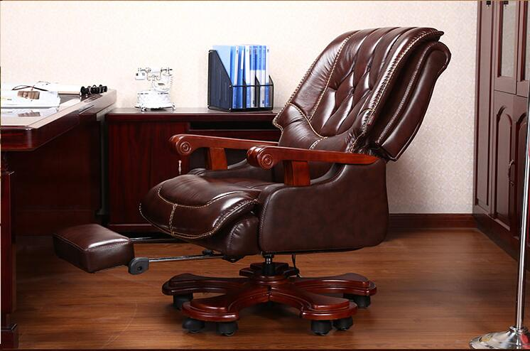 Leather Boss Chair Reclining Luxury Massage Computer Chair Home Office Chair Solid Wood Swivel Chair Large Class Chair.
