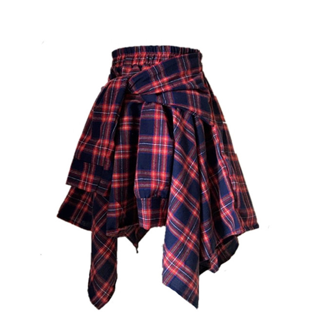 a7aaa0845b11 Adomoe New CHIC Style High Waist Shorts Streetwear Harajuku Hard Girl Plaid  Irregular Fake 2 piece