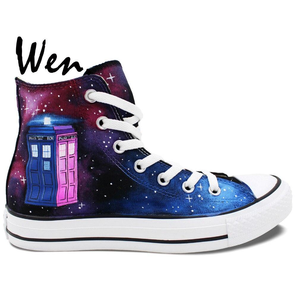 Prix pour Wen Chaude Peint À La Main Chaussures Conception Personnalisée Doctor Who de Vin Rouge Galaxy Tardis Haute Top Femmes Hommes Toile Sneakers