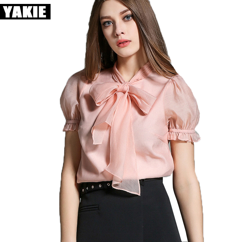 Lazo de organza camisa blusa de la gasa 2017 nuevo verano corto manga farol cami