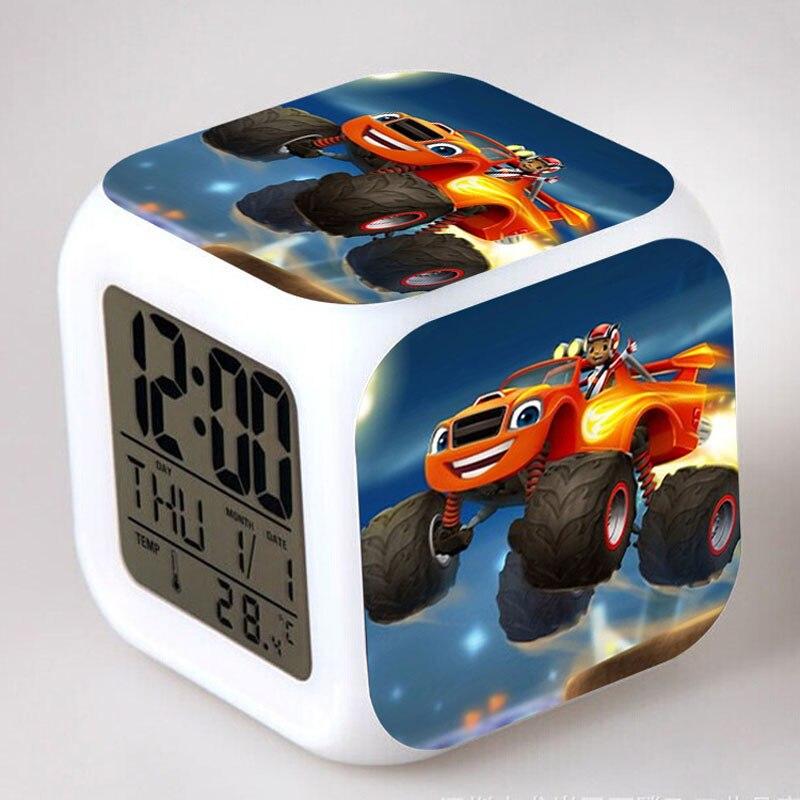 2017 new Plastic Luminous Watches LED Digital Alarm Clock Blaze and the Monster Machines reloj despertador Kids Christmas Gift(China)
