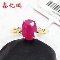 18 К золото инкрустированные Природный бирманский рубиновое кольцо female2.2 карат