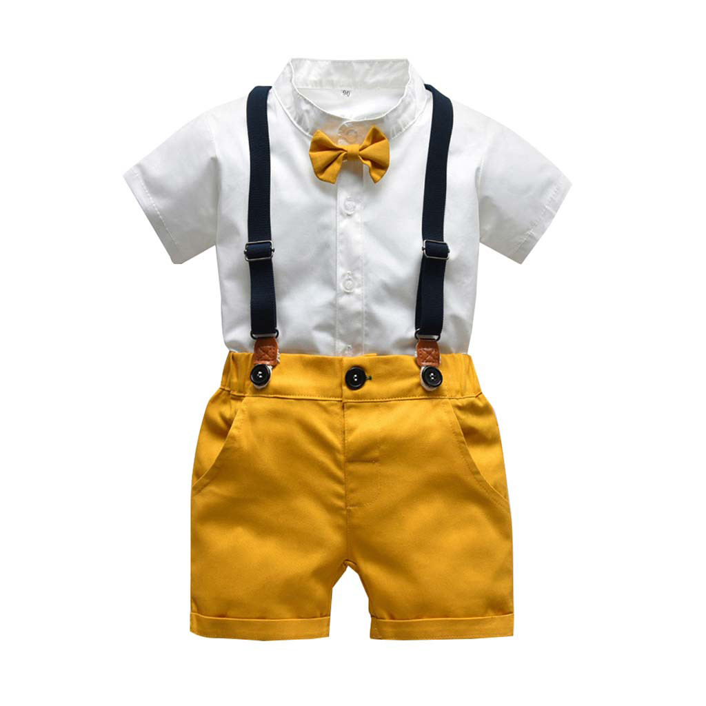 Outfits Toddler T-Shirt Overalls Tops Shorts Print-Set Gentleman Baby-Boys Cartoon-Pattern title=