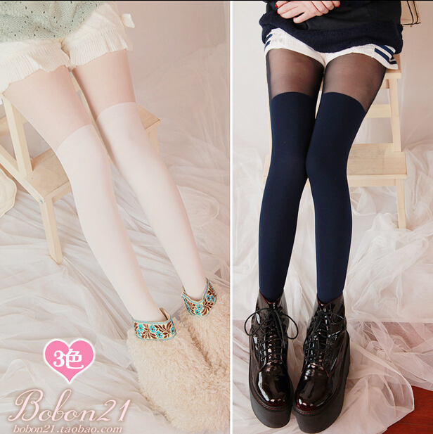 Princess sweet lolita pantyhose BOBON21 autumn and winter warm thick velvet show thin tights fake leg pantyhose AC1088