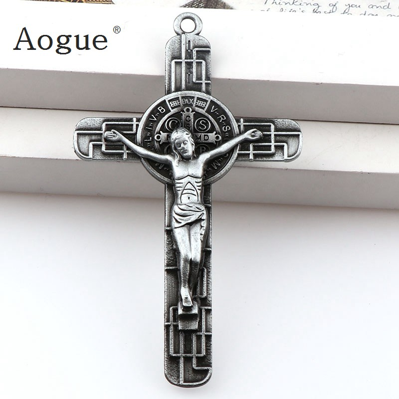 Medal Of Saint Benedict Cross Jesus Christian Jewelry Crosses Charms St Benedict Crucifix Pendants For Key chain Pendants