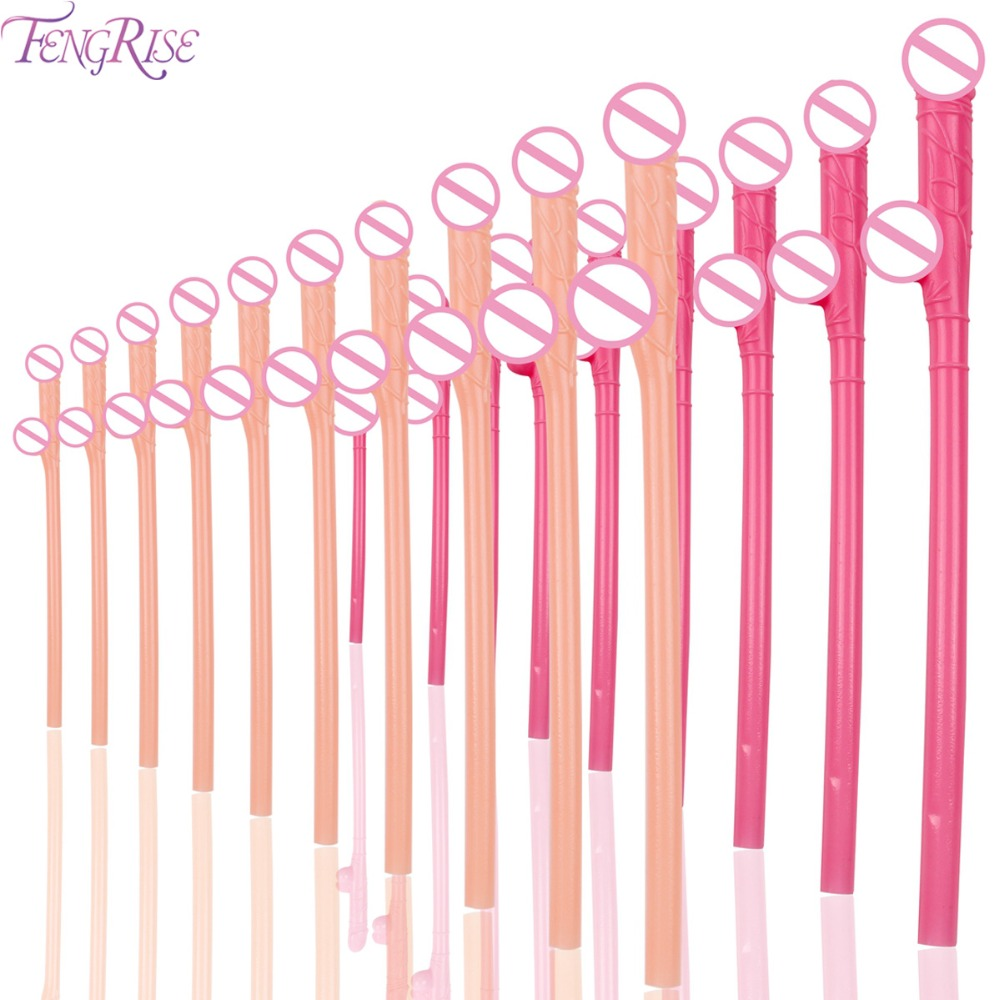 FENGRISE 10pcs Sexy Hen Night Willy Drinking Straws Penis Bachelorette Party Penis Straws Penis Willy Plastic Straws Dick Straw