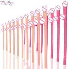FENGRISE 10pcs Sexy Hen Night Willy Drinking Straws Penis Bachelorette Party Plastic Dick Straw