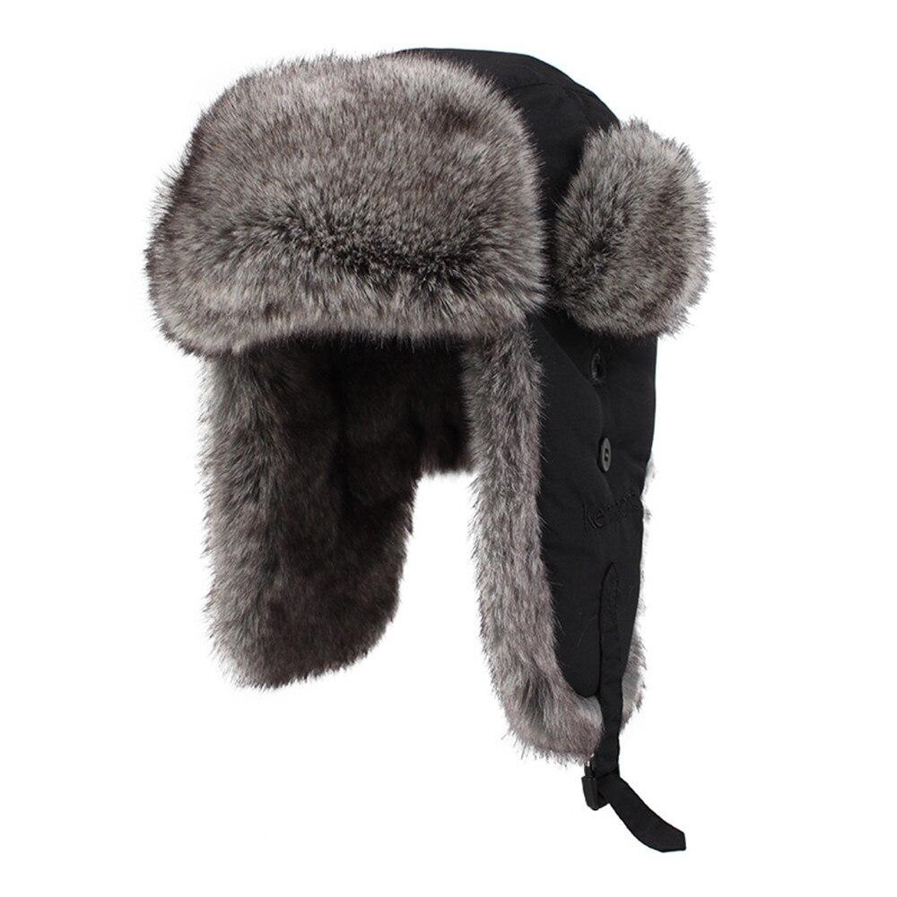 2015 Mens Russian Ushanka100 Real Rabbit Fur Hats Women -8014