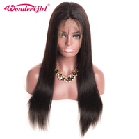 Wonder Girl Pre Plucked Full Lace Human Hair Wigs For Black Women Brazilian Straight Non Remy