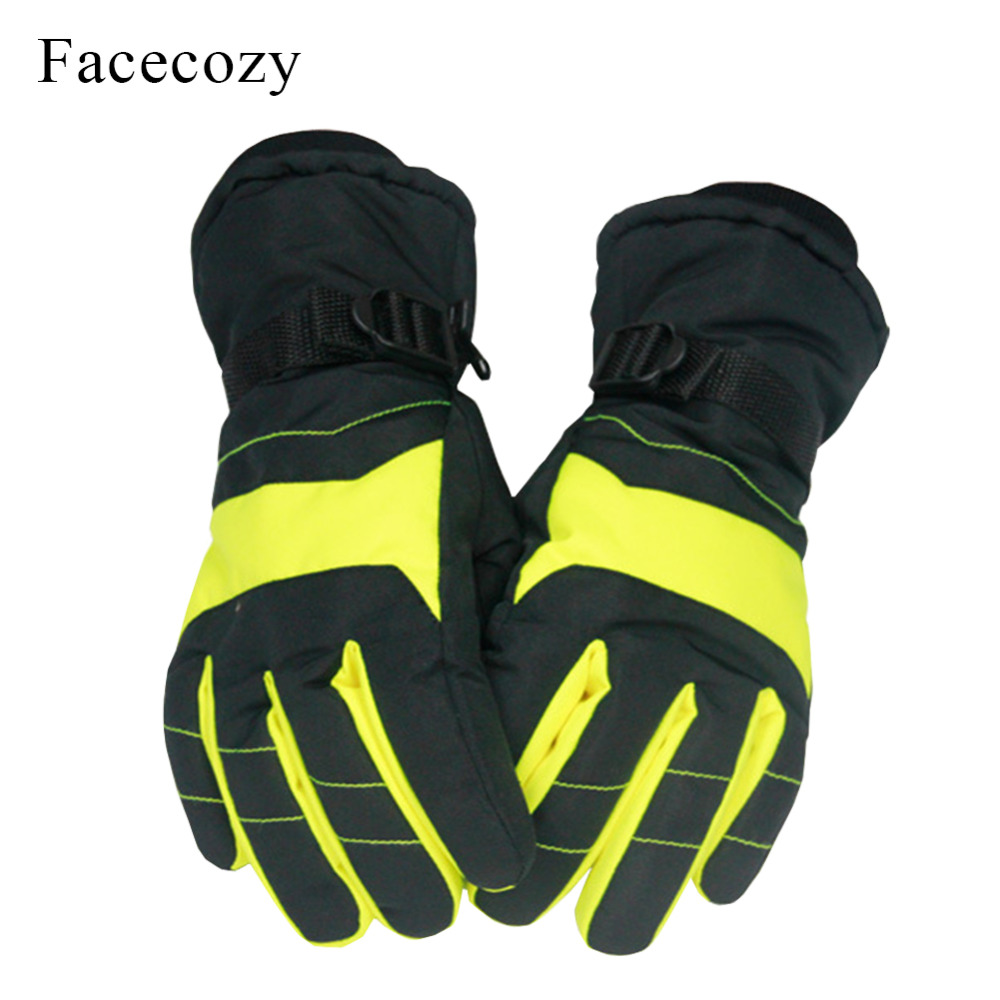 Facecozy Man Women Winter Skiing Gloves Unisex Patchwork Fleece Glove Waterproof Thermal Couple Ski Outdoor Sport Gloves Guantes