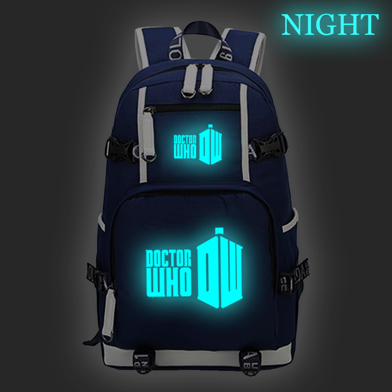 Doctor Who Backpack Luminous Daily School Bags for Teenagers Laptop Backpack Boys Girls Travel Rucksack Large Capacity Backpack