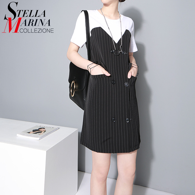 2016 Summer Women Casual Black Short Dress Korean O Neck Vertical Striped Short Sleeve Pockets Patchwork Elegant Mini Dress 1479