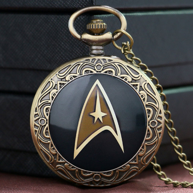 Hot Sale Style Cool Star Trek Theme Black Case Design Quartz Pendant Pocket Watc