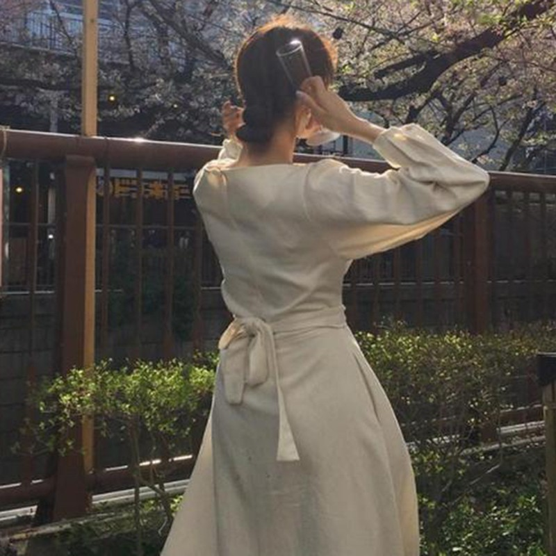 CHICEVER Autumn Dress Female O Neck Long Sleeve High Waist Bow Bandage White Long Dresses For Women Korean Fashion Elegant 2020 1