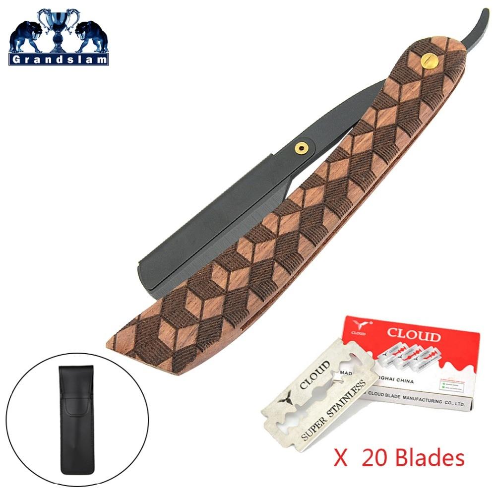Grandslam Professional Barber Straight Shaving Razor For Men Shave Folding Knife Wood Handle+Black Pouch + 20X Blades