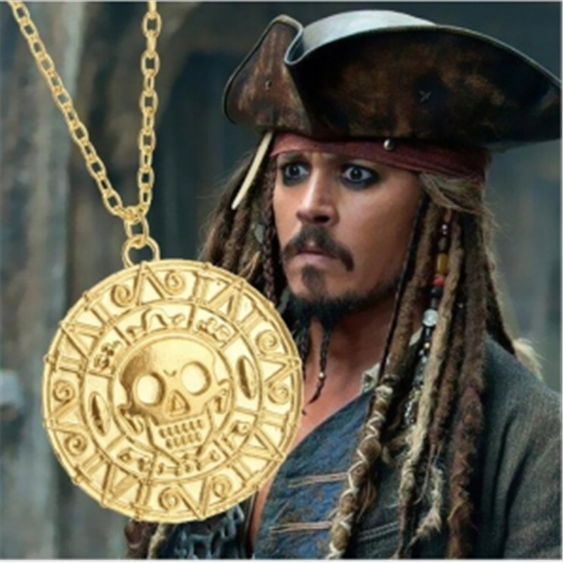 Fashion Jewelry Vintage Charm Aztec Coin Pendant Necklace Pirates of the Caribbean Necklace Hot Wholesale