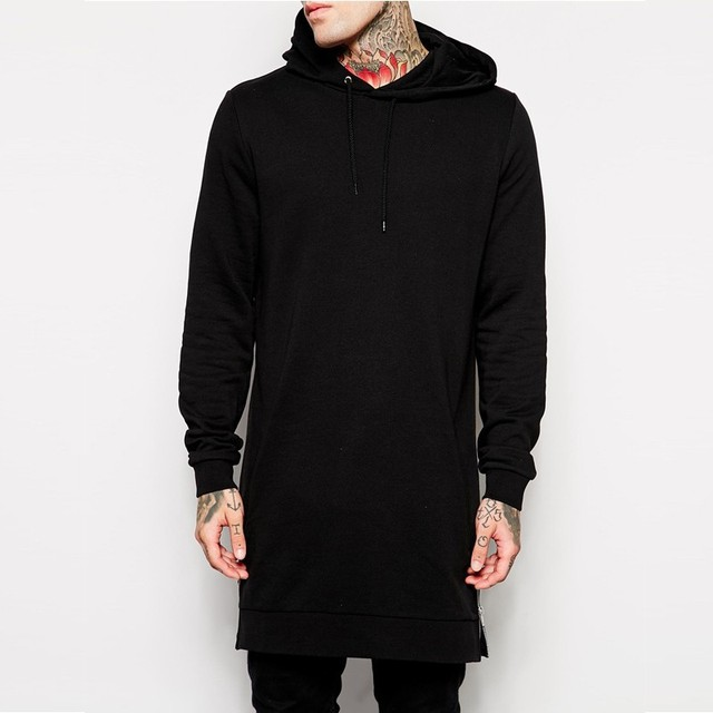2018 new long-sleeved blank hooded  men's trend long paragraph autumn and winter loaded solid color head