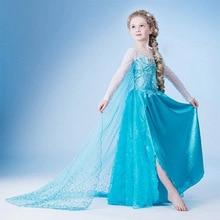 купить Halloween dress Girl Princess Costume snow queen Cosplay children clothing baby Kids fantasia infantis Elsa vestido dresses по цене 741.19 рублей