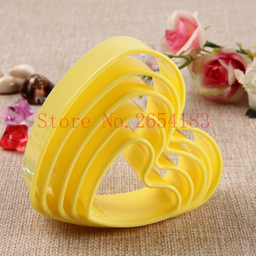 5PCS Love Heart Plunger plastik Cutter Fondant Cake Mold Cupcake Cookie Pastry Chocolate Biscuit Decoration Baking Tool FQ2052