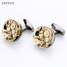 Newest  Gold Color Watch Movement Cufflinks of immovable Hot Stainless Steel Steampunk Gear Watch Mechanism Cuff links for Mens