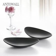 ANTOWALL Imitation Porcelain Tableware Black Japanese Style Ingot Shaped Melamine Plate Korean Cuisine Barbecue Dish Cold