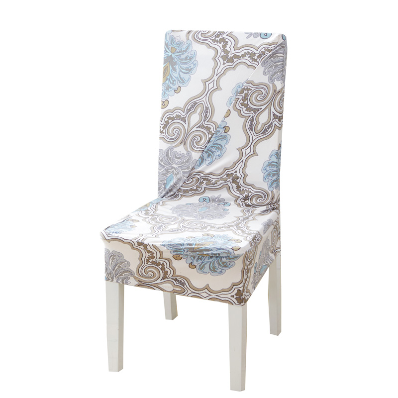 Anti-dirty Dining Room Chair Covers Spandex Stretch Polyester Seat Covers Nordic Floral Printed Geometric Seat Protector Case